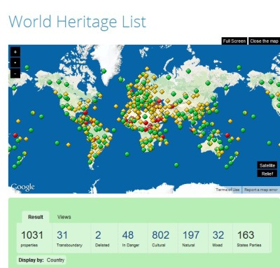 world heritage map